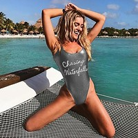Vest Spaghetti Strap Bra Women's Fashion Slim Silver Leather Alphabet One-piece [518589579279]