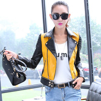 6 sizes  PU women leather motorcycle jacket patchwork color spring autumn zippr design women PU leather outerwear coat S-3XL