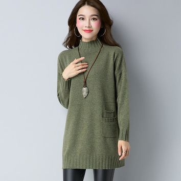 Autumn Mock Medium Style Fashion Loose Round Neck Jacquard Weave Pocket All Matched Jumper Women Pullover Knitted Sweater