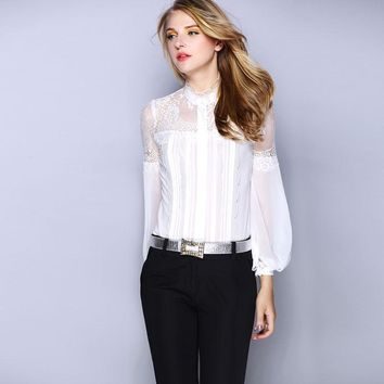 High Quality Womens Clothing 100% Pure Silk Women Blouse Shirts Lace Patchwork Stand Collar Top Women Black White Camisas Mujer