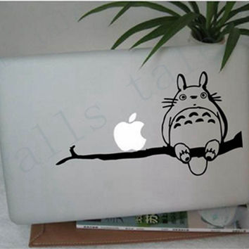 Free shipping Totoro on Branch for Apple Macbook 13 Inch &11 Inch Vinyl Decal Laptop Sticker Japanese Cartoon Anime Stickers