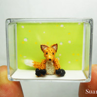 Cute Brown Fox  Micro Crochet Miniature Foxes  Made To by SuAmi