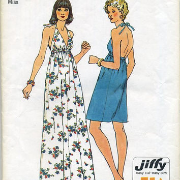 Simplicity 6328 Sewing Pattern Retro Disco Style Party Halter Dress Sundress Easy to Sew Size 12 Bust 34