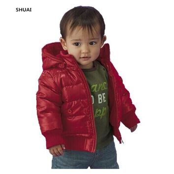 Trendy New Baby Boys Jacket Kids Winter Thick Warm Cotton Padded Solid Color Hooded Coat Children Outerwear Clothing In Sotck Hot Sale AT_94_13