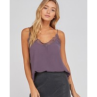 like it like that - lace trimmed lined crepe camisol tank - midnight