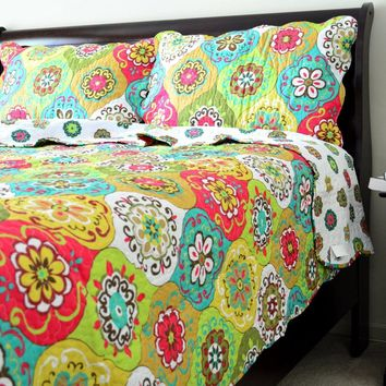 Tache 3 Piece Green Geometric A Leap into Summer Reversible Bedspread Set (HS1710)