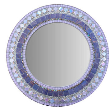 Purple Mosaic Mirror, Round Wall Mirror, Nursery Decor