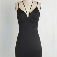 LBD Mid-length Spaghetti Straps Bodycon Strappier Than Ever Dress in Black