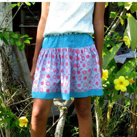 ON SALE Blue Turquoise and Coral Twirly Mini Skirt