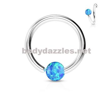 Opal Blue Captive Hoop Daith 16ga Surgical Stainless Steel Ear Jewelry Tragus Cartilage Helix Body Jewelry