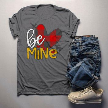 Men's Valentine's Day T Shirt Be Mine Shirts Plaid Heart Valentines Shirts Arrow Tee
