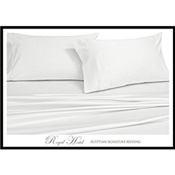 Royal's Solid White 1200-Thread-Count 4pc King Bed Sheet Set 100-Percent Cotton, Sateen Solid, Deep Pocket