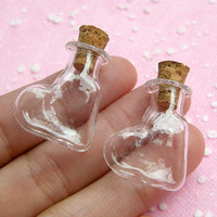 Mini Glass Jars Bottles w/ Corks in HEART Shape (24mm x 20mm) (2 pcs) Miniature Food / Sweets Craft, Kitsch Jewelry / Pendants Making MC24