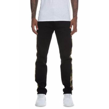 S&D x Nerdy Fresh Taped Denim Jeans in Black/Camo