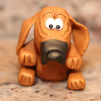 Cooper the Bloodhound, polymer clay miniature animal, pocket totem, Animal Roundup, hound dog figurine, small sculpture, gold, black, white