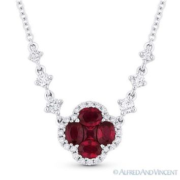 1.38 ct Natural Ruby & Diamond Pave 18k White Gold Pendant & 14k Chain Necklace