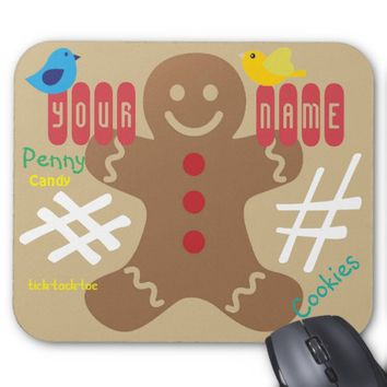 Gingerbread Man Kids, Candy, Tick Tack Toe, Fun! Mouse Pad