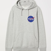 Hooded Sweatshirt with Motif - Light gray melange/NASA - | H&M US