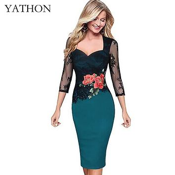 YATHON Plus size 5XL Embroidered Lace Bodycon Dresses For Women Floral Hollow Out Office Work Casual Party Pencil Dress Vestidos