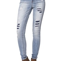 Bullhead Denim Co. Skinniest Patch And Repair Ripped Jeans - Womens Jeans - Blue -