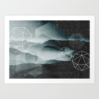 Winter Mountains Art Print by Cafelab