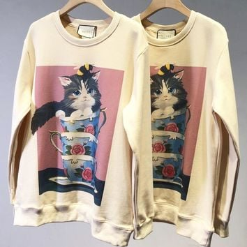 GUCCI Trending Women Cute Cat Cups Print Round Collar Sweater Sweatshirt Pullover Top
