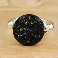 Wire Wrapped Ring- Sterling Silver Filled Wire with Black Filigree Metal Bead - Any Size- Size 4, 5, 6, 7, 8, 9, 10, 11, 12, 13, 14