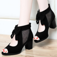 GACIHEAVEN bowknot Shoes with high heels fish mouth shoes