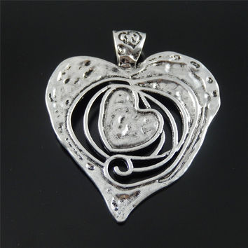GraceAngie 3PCS GraceAngie Antique Silver  tone Alloy Melting heart large necklace charms pendant 68mm Jewelry Accessory