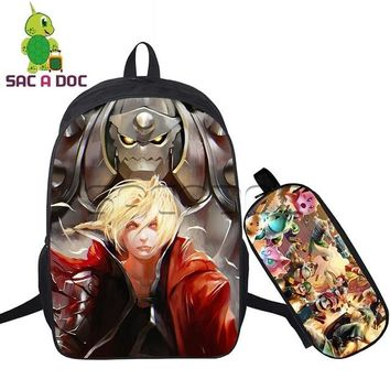 Anime Backpack School kawaii cute Fullmetal Alchemist Backpack Women Men 2pcs Set School Backpack for Teens Students Edward Elric Prints School Bookbags AT_60_4