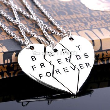 "A Set Fashion Friendship Jewelry Vintage Sliver Broken Heart Parts 3 "" Best Friends Forever "" Necklaces & Pendants For Women Men"