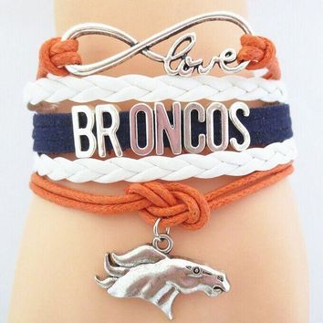 Infinity love Denver Broncos Football bracelet handmade charm Denver Broncos football bangles & bracelets for women and men