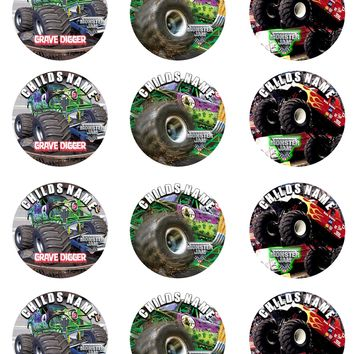 Monster Jam Set of 12 Round Personalized Stickers or Cupcake Toppers