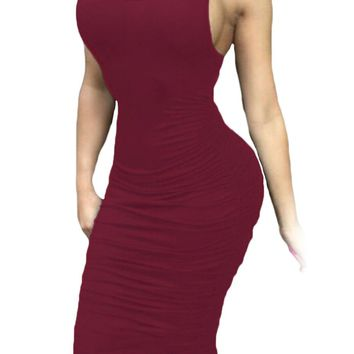 Burgundy Fitted Sexy Bodycon Racer Tank Dress