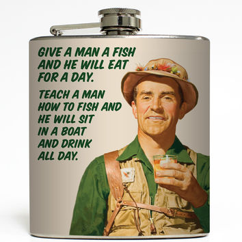 Teach A Man To Fish - Fishing Flask