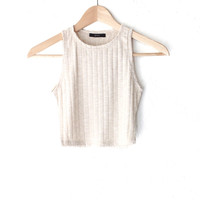 Sleeveless Ribbed Crop Top - Oatmeal