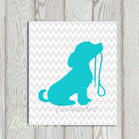 Turquoise Gray Nursery dog printable Chevron Little girl boy bedroom decor gift Dog wall art Cute dog print Silhouette wall decor Download