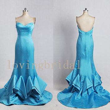 2014 Long Sweetheart Satin Prom Dress Bridesmaid Dress Party Dress Simple Homecoming Dress Formal Prom Dress Custom