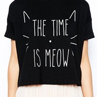 ASOS PETITE Exclusive The Time is Meow T-Shirt