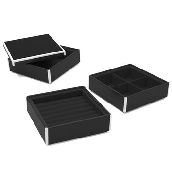 Elle Lacquer Set of 3 Stacking Jewelry Boxes Black