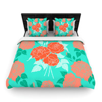 "Anneline Sophia ""Summer Rose Orange"" Teal Green Woven Duvet Cover"