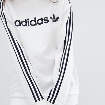 adidas originals crew neck linear sweat in white
