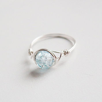 Frozen Blue Ice Ring - unique rings - custom