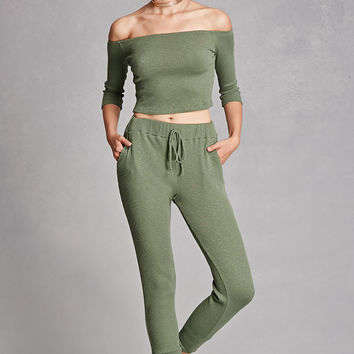 Ribbed Knit Drawstring Pants