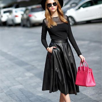 WBCTW Women Skirt Sexy PU Knee Length Midi High Waist Black A-Line Vintage 7XL Plus Size Summer Style Office Skirt with Pockets