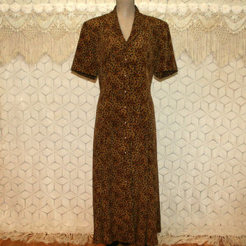 90s Animal Print Dress Short Sleeve Button Up Maxi Plus Size 18 Dress Leslie Fay Plus Size Clothing 1990s Vintage Clothing Womens Clothing