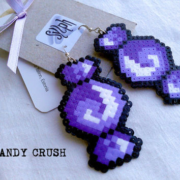 Purple geeky 8bit pixelated Candy Crush earrings made of Hama Mini Perler Beads