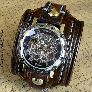Steampunk Leather Wrist Watch, Skeleton Men's watch, Leather Cuff, Bracelet Watch, Watch Cuff, Mens Gift, Mechanical Wrist Watch