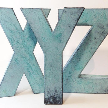 Faux Metal Letters - Solid Bronze - Metal - Antique - Patina - Aged - Vintage - Industrial - Decorative - Rustic - Old - Beautiful - Bronze