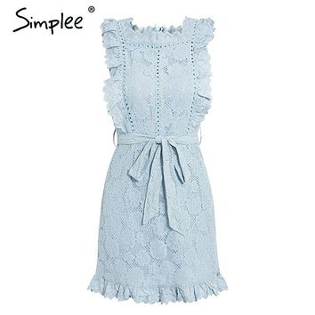 Simplee Elegant embroidery lace women dress